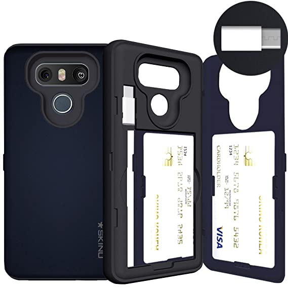 the best attitude 417f1 c4332 LG G6 Case, LG G6 Card Case, SKINU [USB Type C] [Metal Slate] [Shockproof]  [Dual Layer] [Card Slot] [Drop Protection] [Wallet] with Mirror and Adapter  ...