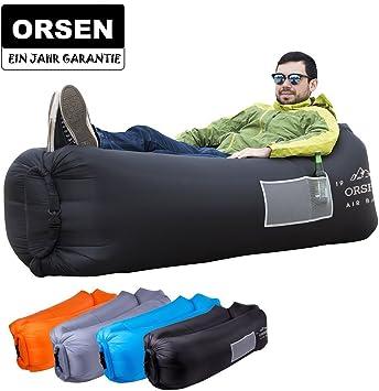 LOUNGER TO GO Luftsofa Sitzsack Luftsack aufblasbare Strand Liege Matratze GRAU