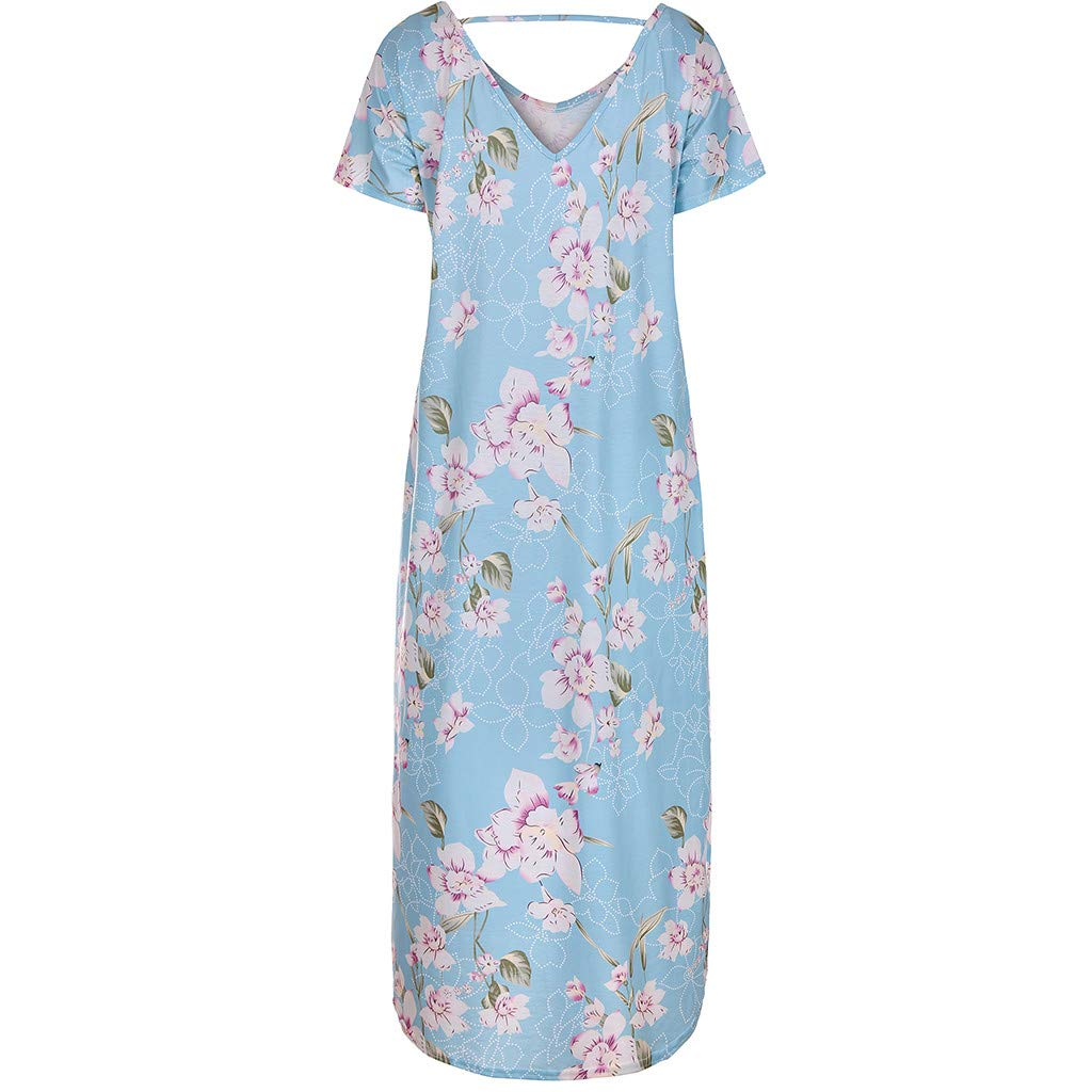 TWGONE Maxi Dresses For Women Summer Short Sleeve Loose Pocket Split Long Dress (X-Large,Blue) by TWGONE (Image #3)