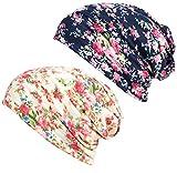 DancMolly Print Flower Head Cap Cancer Hats Beanie Stretch Casual Turbans Women (Light Green+Navy Blue)
