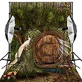 Kooer 5X7ft Photography Backdrops Vinyl Fabric Photography Background Wooden Cave Birds Stump Mushroom
