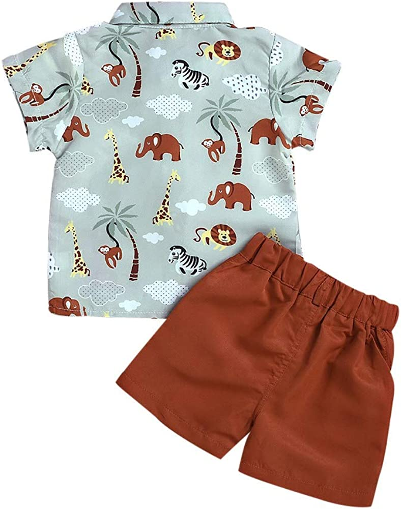 Baby Boys Outfit Short Sleeve Cartoon Animal Print Polo Shirt Tops+Shorts Kid Clothes Set Party Formal Suit for Age 2-7 Years Old