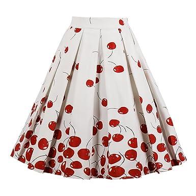 0a8fcc37b9 ZAFUL Women Vintage Pleated A Line Flare Skirt Floral Print Knee Length Midi  Skirts(Cherry