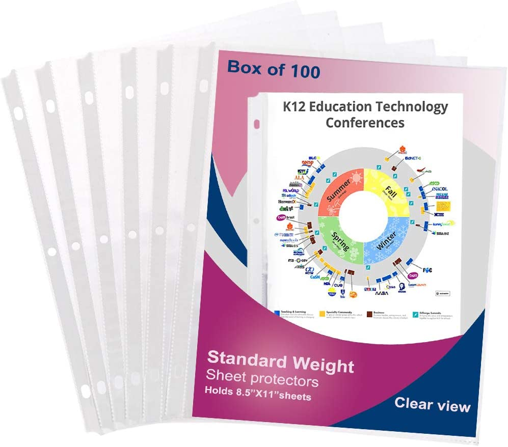 100 Sleeves Clear Plastic Sheet Page Protector Document Office Ring Binder 3Ring