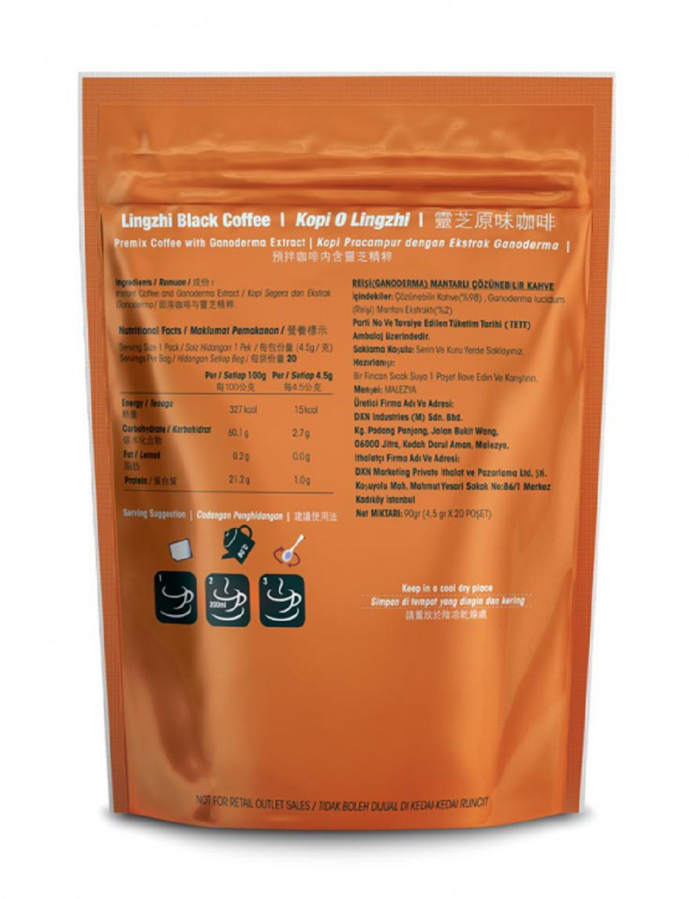 60 Packs DXN Lingzhi Black Coffee with Ganoderma Extract (Total 1200 sachets) by DXN (Image #2)