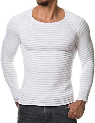 Sudadera para Hombre Top Raya Invierno Cuello Otoño Redondo Modernas Casual Camisa De Manga Larga Ropa De Punto De Algodón Slim Fit Camisas Chaleco Zhen + Hombre Nnen Deporte Casual Camiseta: Amazon.es: