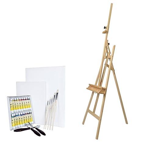 Artina Barcelona - Set de Pintura - Caballete de Pintura de Madera de Pino, acrílicos, lienzos, Pinceles y Cuchillos
