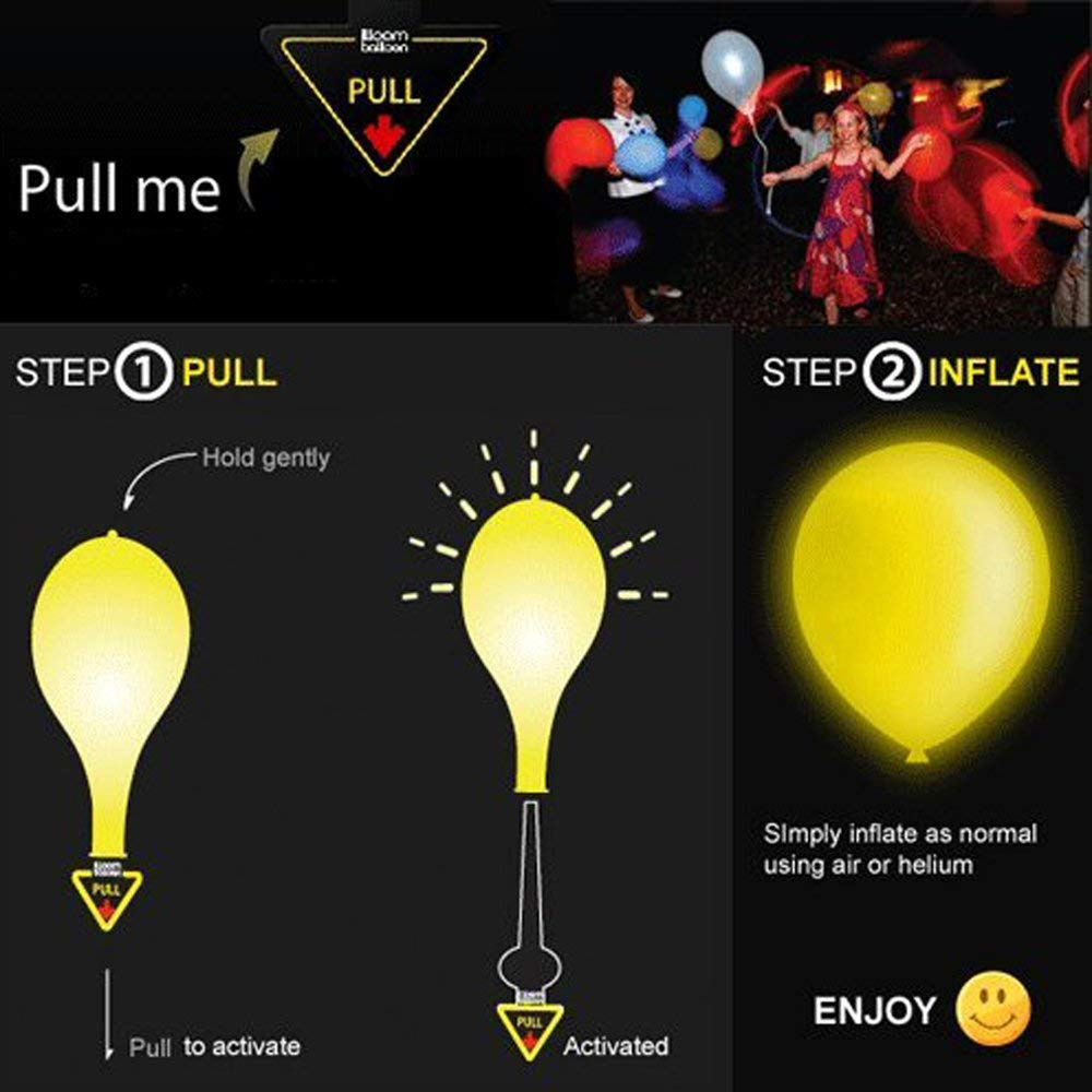 Premium Mixed-Color Flashing Lasts 8-24 Hours Balloons Ideal for Birthday Holiday Party Favors Supplies 100 Pack LED Light Up Balloons 2019 Happy New Year Eve Party Lights Fillable with Helium Air