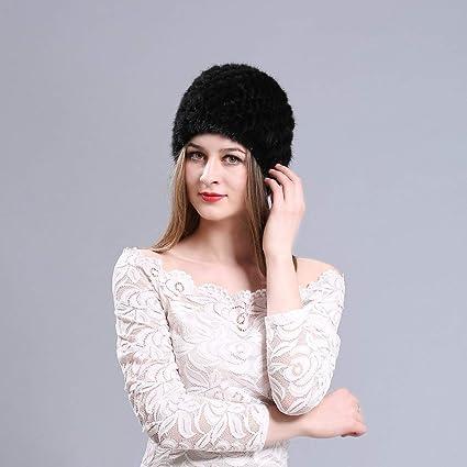 Cappello di pelliccia di visone donne inverno soffice berretto a maglia  scialle caldo cappelli ananas berretto b2d8c4dbc8ec