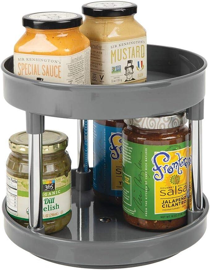 Pr/áctico Estante para Especias para armarios de Cocina o encimera Crema//Plateado mDesign Juego de 2 especieros giratorios con Dos Pisos Soporte Giratorio de pl/ástico para condimentos
