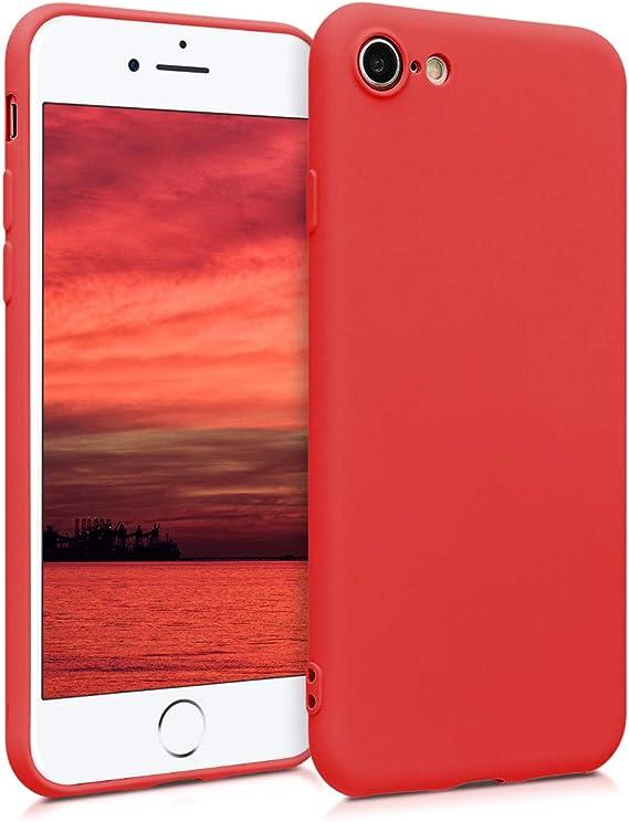 Image ofkwmobile Funda Compatible con Apple iPhone 7/8 / SE (2020) - Carcasa de TPU Silicona - Protector Trasero en Rojo neón