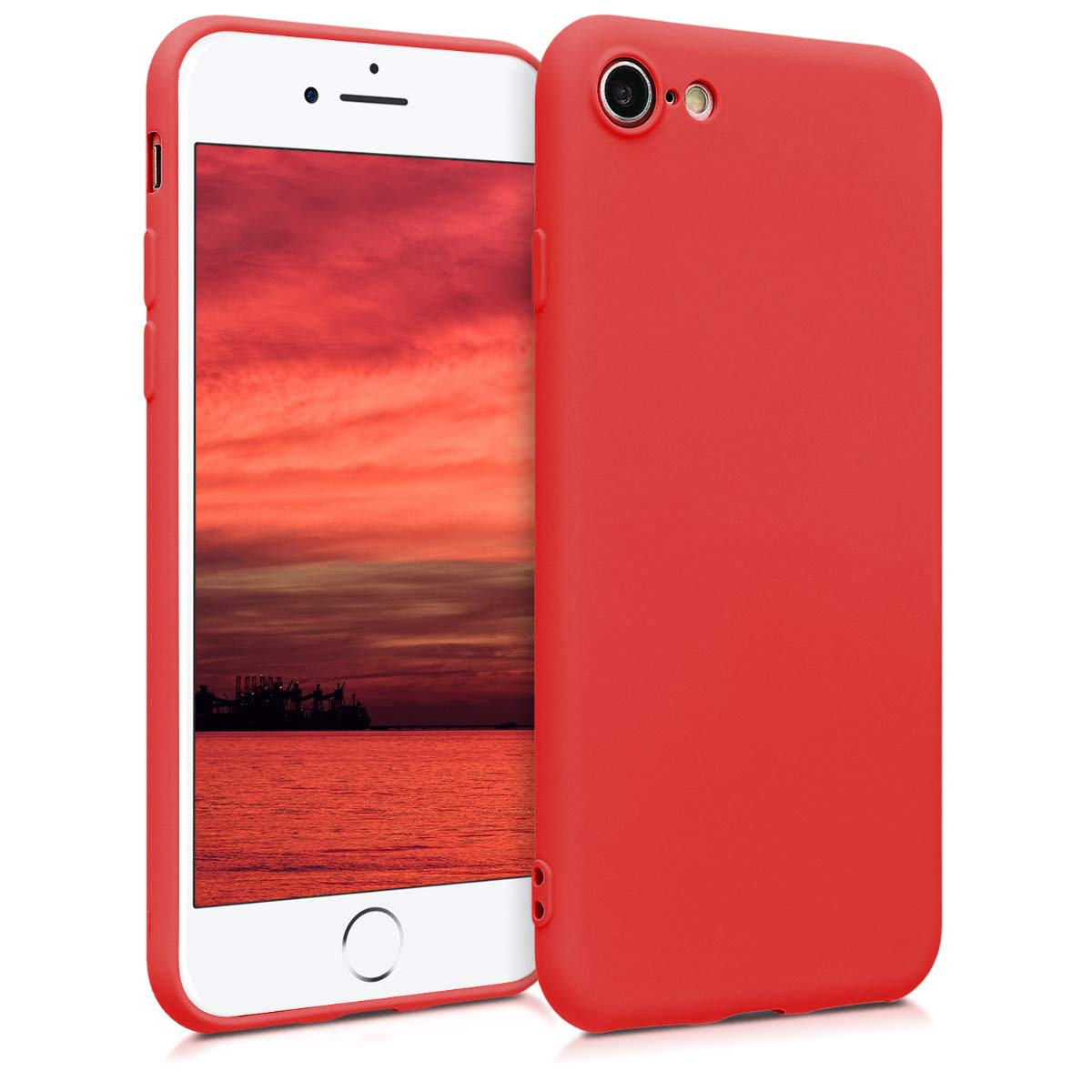 kwmobile TPU Silicone Case for Apple iPhone 7/8 - Soft Flexible Shock Absorbent Protective Phone Cover - Neon Red