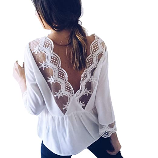 f0d003e97b2 Amazon.com  Kimloog Womens Long Sleeve Scoop Neck Lace Backless Tops Ruched  Solid Blouse  Clothing