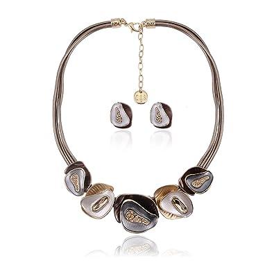 37c7299ead0 Vintage Statement Necklace Earrings Set - Fashion Chunky Jewelry Set for Women  Girls Elegant Wedding bridal