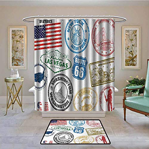 Kenneth Camilla01 Waterproof Shower Curtain United States,Grunge Stamps of America Las Vegas New York San Francisco Hawaii Illustration,Multicolor,Bathroom Curtains for Shower with Hooks Set 72