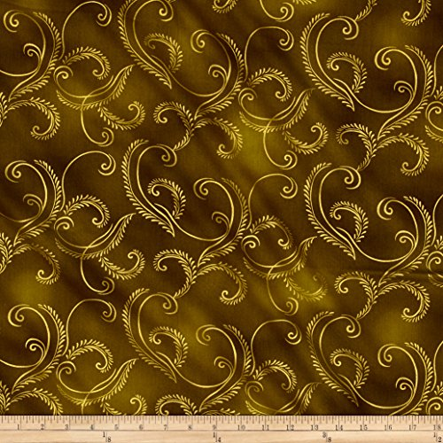 Benartex Kanvas Autumn Splendor Metallic Gold Garland Olive Fabric By The (Splendor Olive)
