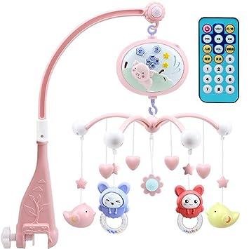 STOBOK Juguete Musical Móvil para Cuna de Bebé Cerdo Colgante con Proyector de Control Remoto Juguetes de Aprendizaje Temprano (Rosa)