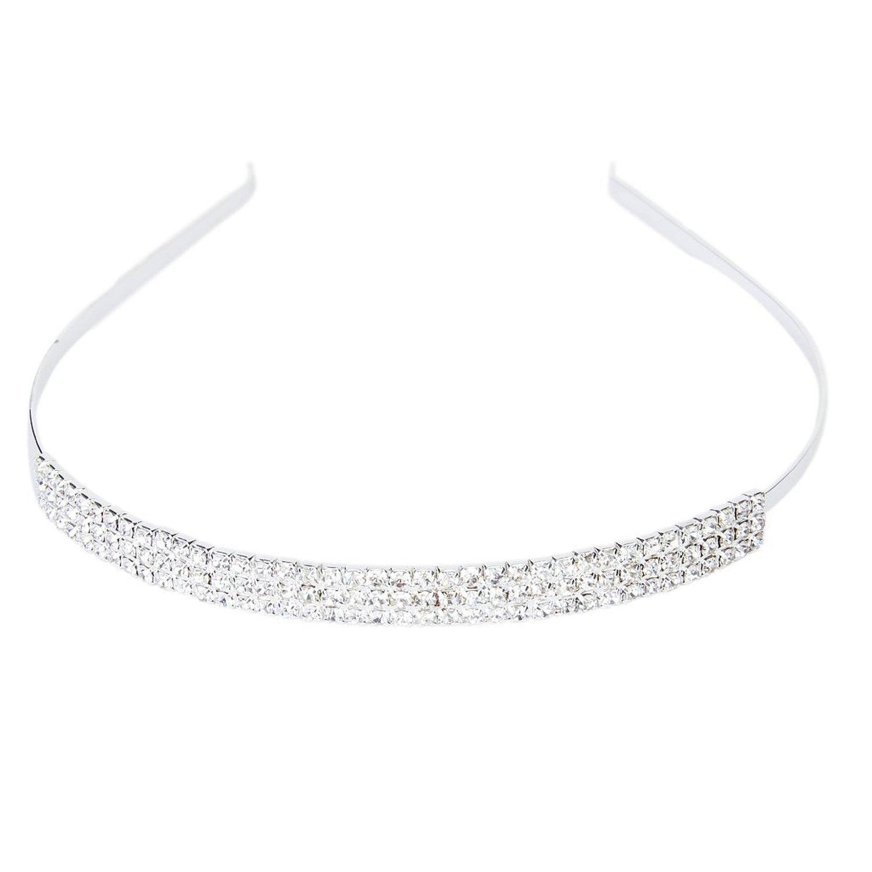 ultime tendenze del 2019 codice promozionale outlet SODIAL (R) Tiara cerchietto fascia da sposa con 3 file strass per nozze  festa