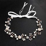Jinjin Bridal Jewelry, Handmade Crystal Rhinestones Handmade Beaded Hair Band Wedding Headdress (White)