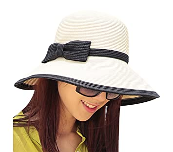 Cuddty Bowknot Cap Sombrero Panamá para Mujer Plegable Verano Mujeres Sol  Visera Gorro de Viaje Playa 60ab7a159e0