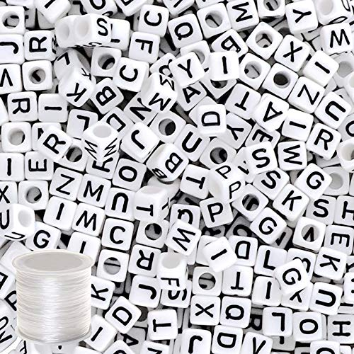 Quefe 800pcs Letter Beads Alphabet Beads with 1 Roll Elastic Crystal String Cord for Jewelry Making for Kids DIY Bracelets, -
