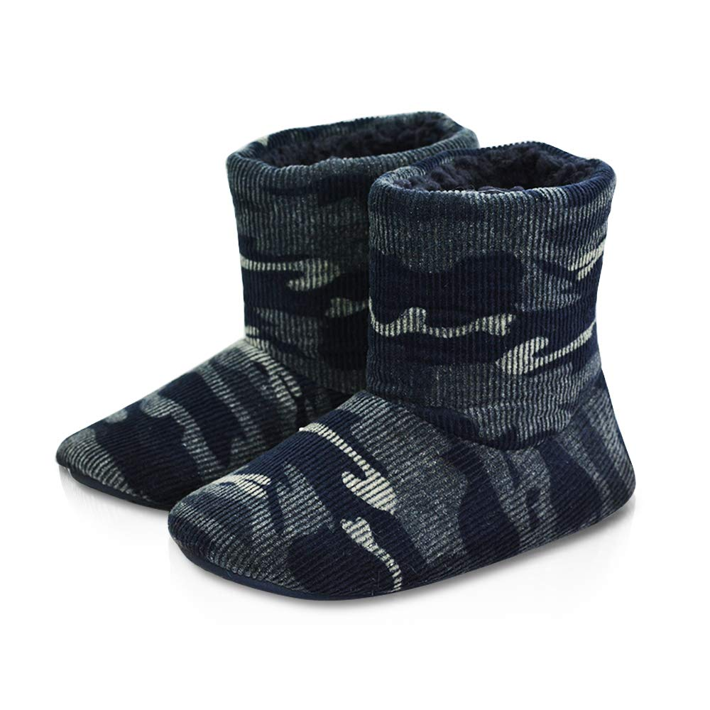 LA PLAGE Boys Soft Warm Plush Bedroom Boot Slippers House Shoes for Kid 1-2 US Camouflage Grey