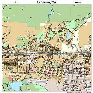 Large Street Road Map Of La Verne California Ca Printed Poster