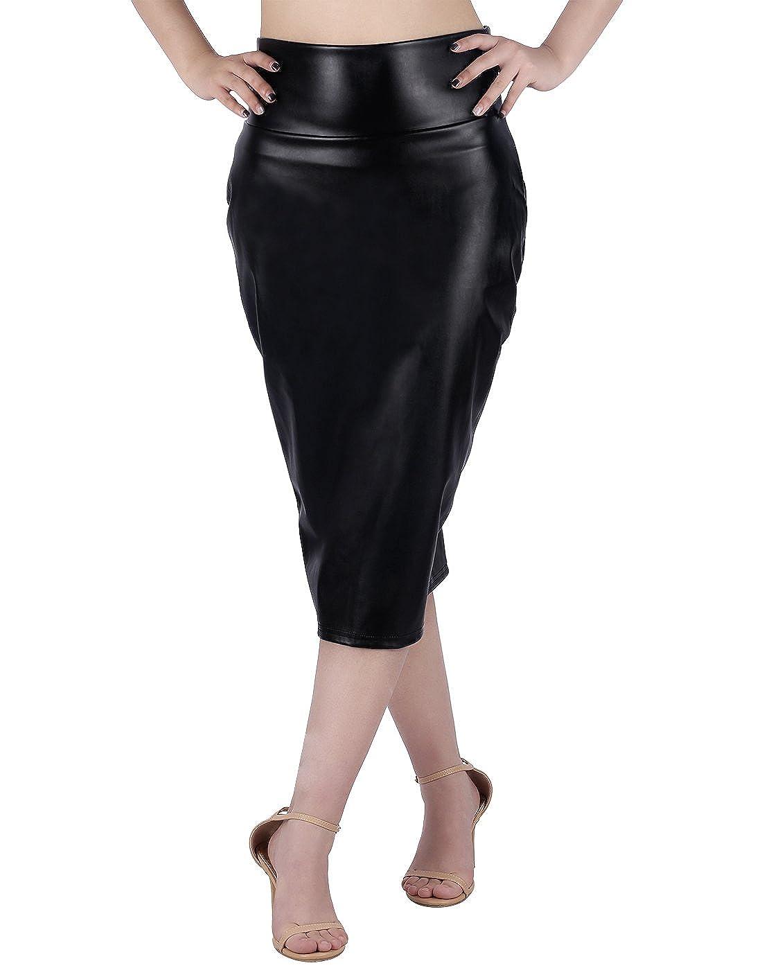 1ef448c8028 HDE Women s Shiny Metallic Faux Leather Below Knee Midi Bodycon Pencil Skirt   Amazon.co.uk  Clothing