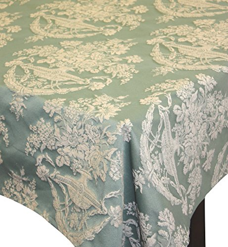 Corona Decor Pastel Traditional Design Italian Heavy Weight Tablecloth, 50 by 90-Inch, Green and Beige