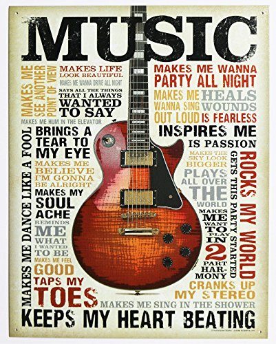 Music Inspires Me Distressed Retro Vintage Tin Sign 13 x 16i