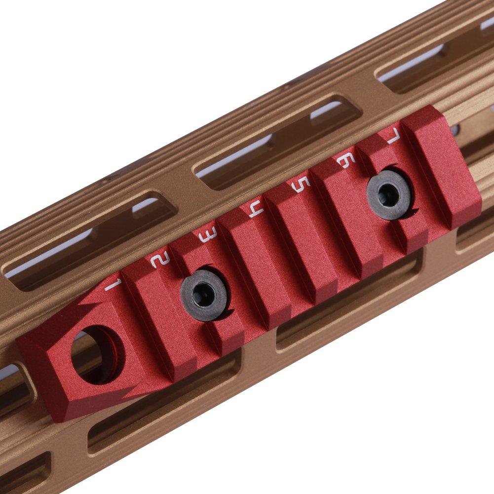 TuFok Mlok Rail Section Aluminum for Two Point Sling Rifle Rail Attachment with 3//8 QD Sling Mount Swivel Socket 7-Slot,Red M-lok Picatinny Rail Adapter