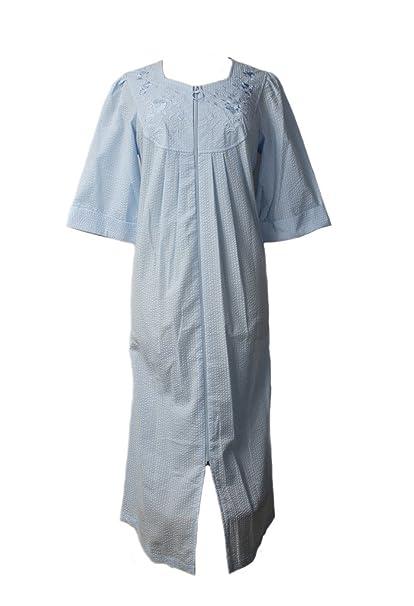 Seersucker Robes - Plus Miss Elaine Long Zip Robe - Peri Blue (3X ... c88a45ecf