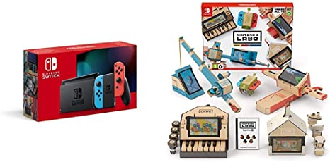 Nintendo Switch - Consola color Azul Neón/Rojo Neón (Modelo 2019) + Labo: Toy-Con Kit variado: Amazon.es: Videojuegos