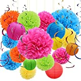 E-MANIS 24Pcs Tissue Paper Pom Poms Kit Paper Flowers, Paper Lanterns and Ceiling Hanging Swirl Decoration, for Wedding, Baby Shower, Bachelorette Parties,Birthday,Christmas Party Decorations Colorful