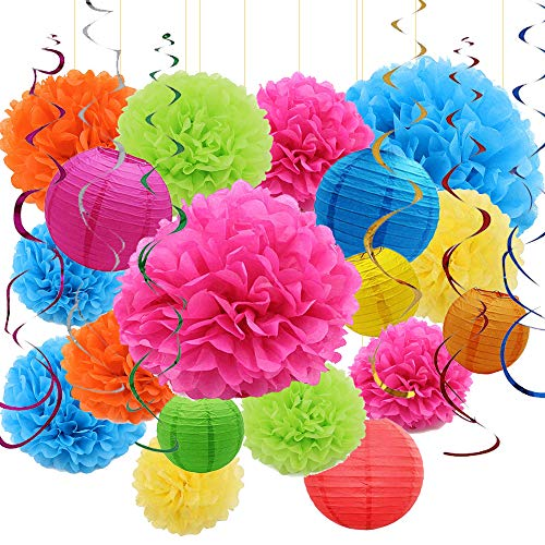 Sonnis 24pcs Paper Flower Pompom and Paper Lantern, Balloon for Birthday Wedding Christmas, Celebration, Nautical Themed Ball Party Decorations- Colorful  -