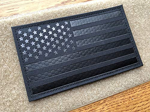 5x3 inch Large Black Infrared IR US USA American Flag Patch Tactical Vest Patch Hook-Fastener Backing (5 Width x 3 Height) (Black)