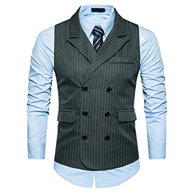 336965fa50 Cloudstyle Mens Pinstripe Vest Slim Fit Formal Dress Vest Double-Breasted  Business Vest Dark Green