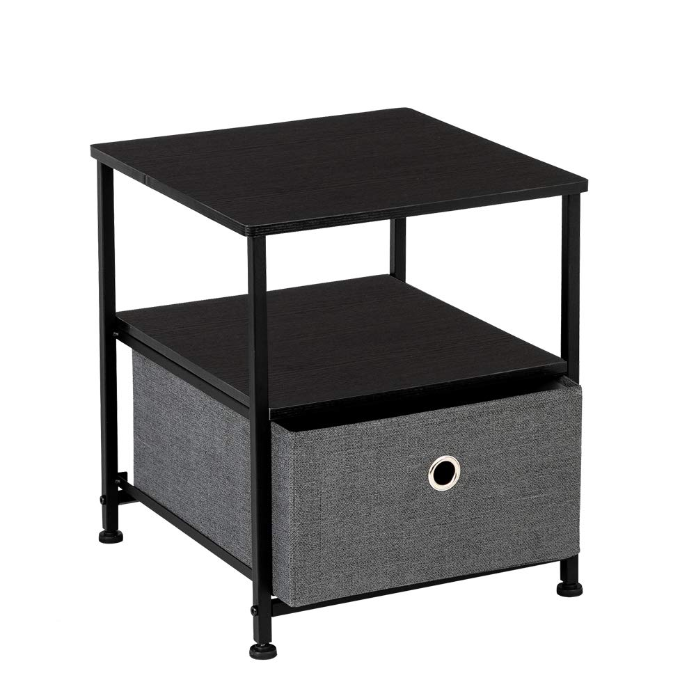 Teeker Nightstand 1-Drawer Shelf Storage- Bedside Furniture & Accent End Table Chest for Home, Bedroom, Office, College Dorm, Steel Frame, Wood Top, Easy Pull Fabric Bins (Grey) by Teeker