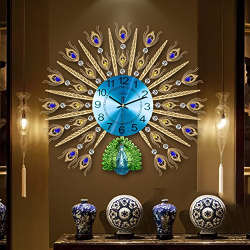 SE7VEN The peacock clock,Wall clocks large decorative European