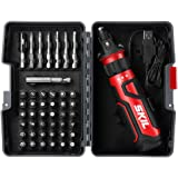 SKIL Rechargeable 4V Cordless Screwdriver with Circuit Sensor Technology, Includes 45pcs Bit Set, USB Charging Cable…