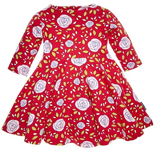 POLARN O. PYRET ROSE & PETAL TWIRL DRESS (BABY) - 9-12 months/Poppy