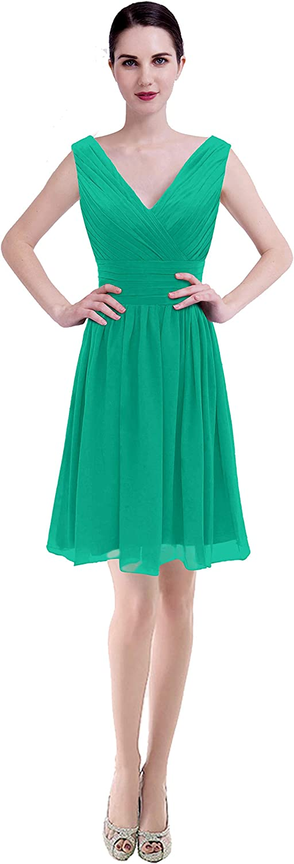 CaliaDress Women V Neck Bridesmaid Dress Formal Evening Gowns Short C199LF
