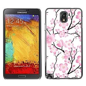 KOKO CASE / Samsung Note 3 N9000 N9002 N9005 / wallpaper flores rosadas rama de árbol floral / Delgado Negro Plástico caso cubierta Shell Armor Funda Case Cover