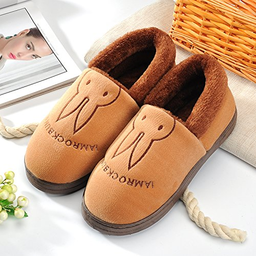 Aemember Bag Of Cotton Slippers With Couples Home Soft Thick Bottom Bottom Skid In Winter Indoor Home Furnishing Shoes,44-45 (Fit For 43-44 Feet),Coffee (Quan Bao)