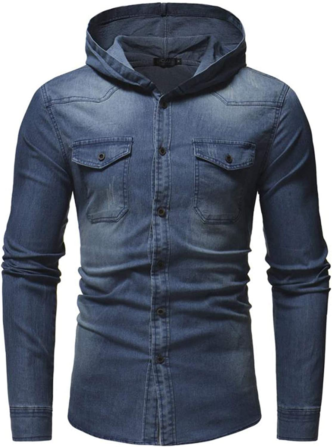 Mens Autumn Winter Hooded Button Vintage Distressed Demin Hoodie Tops Blouse
