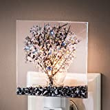 J Devlin NTL 159-2 Fused Glass Tree Night Light Green Purple Blue Stained Glass Decorative Accent