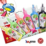 iMustech Stained Glass Paint Set, Non Toxic Window Colors Paint with Pattern Steneil for Window, Ceramic and Glass Surface,Removable & Self-stick (6 Colors x 0.74 Fl.oz)