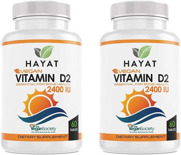 Hayat Vitamins Vegan Natural Vitamin D 2400 IU, D2 (Pack of 2)