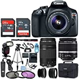 Canon EOS Rebel T6 DSLR Camera with 18-55mm Lens + 75-300MM Lens + Wide Angle Lens + Telephoto Lens + Flash + 48GB SD Memory Card + UV Filter Kit + Tripod + Accessory Bundle (CERTIFIED REFURBISHED)