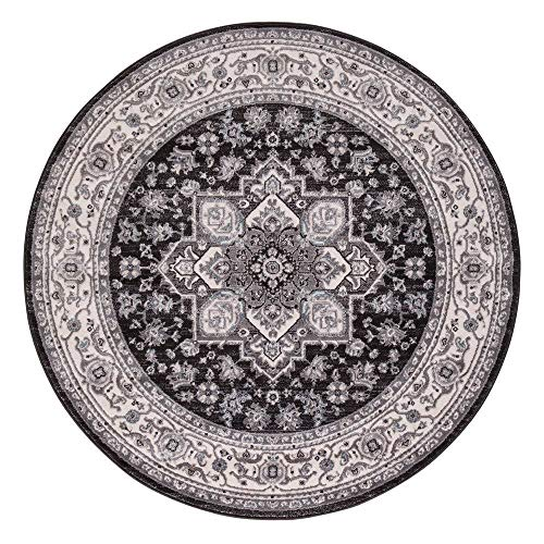 Concord Global Trading Concord Global Lara Hailey Round Rug - 5'3 x 5'3 Anthracite/Ivory